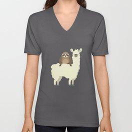 Cute & Funny Sloth Riding Llama Unisex V-Neck