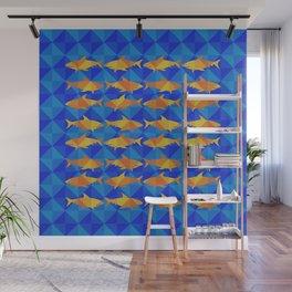 Orange Sharks On Blue Square. Wall Mural
