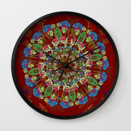 Abstract Rainbow Roses Round Wall Clock