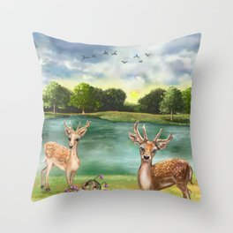 Quizzical Deer By Lake Throw Pillow