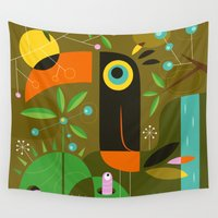 toucan Wall Tapestries featuring The toucan by Jean-Sébastien  Deheeger