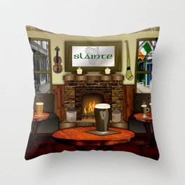 Irish Pub Throw Pillow