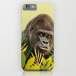 Gorilla in Jungle with Palm leaves iPhone Case