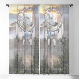 Wolf, Bear and Dream Catcher Sheer Curtain