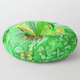 Neon Green Butterfly Floor Pillow
