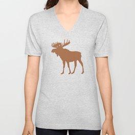 Moose: Brown Unisex V-Neck
