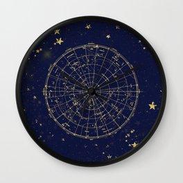 Metallic Gold Vintage Star Map 2 Wall Clock