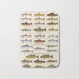 Illustrated Western Game Fish Identification Chart Bath Mat