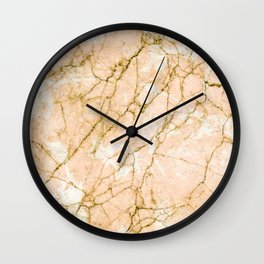 Pink marble & gold effect Wall Clock