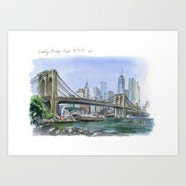 Brooklyn Bridge in August Art Print