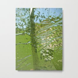 Silver, Green, and Blue Reflection Metal Print