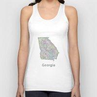 georgia Tank Tops featuring Georgia map by David Zydd - Colorful Mandalas & Abstrac