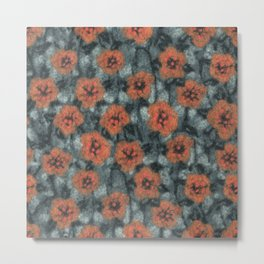 Orange Flowers, Floral Pattern, Fiber Texture, Felted Wool  Metal Print