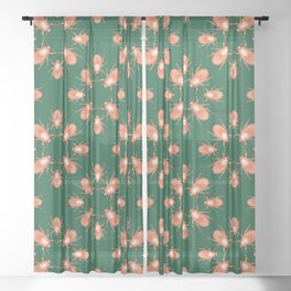 Copper Beetle on Green Background Sheer Curtain