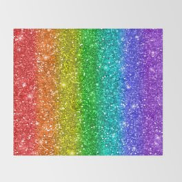 Glittery Rainbow Throw Blanket