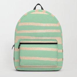 Stripes Metallic Gold Mint Green Backpack