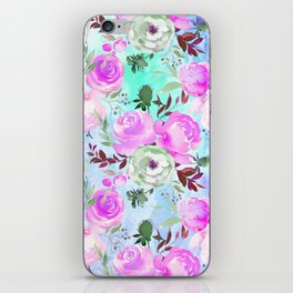 Blush pink lilac lavender teal watercolor roses pattern iPhone Skin
