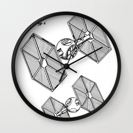 Starwars Tie Fighter Patent - Tie Fighter Art - Black And White Wall Clock