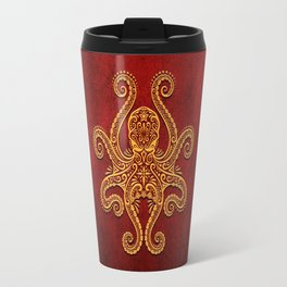 Intricate Red and Yellow Octopus Travel Mug