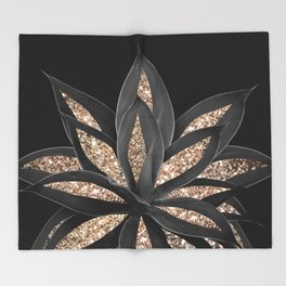 Gray Black Agave with Gold Glitter #1 #shiny #tropical #decor #art #society6 Throw Blanket