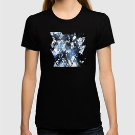 Blue sapphire and opal marbled abstract T-shirt