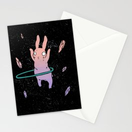Hula Hooping Rabbit in Space Stationery Cards