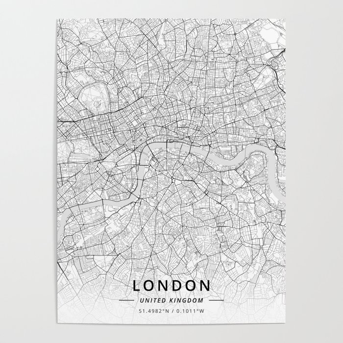 London, United Kingdom - Light Map Poster by designermapart