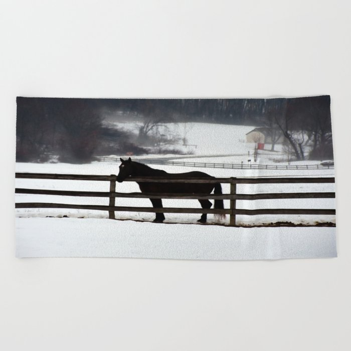 Horse in the Winter Fog Beach Towel