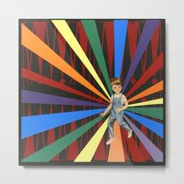 Backgammon Rainbow Boy Metal Print