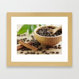Still life of bamboo shell with fine Arabica coffee and  cinnamon Framed Art Print