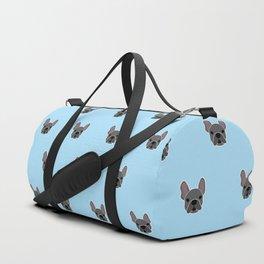 Black Frenchie Mouse Blue Brindle French Bulldog Print Pattern on Pastel Blue Background Duffle Bag