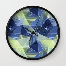 Polygonal pattern.Blue, green background. Wall Clock