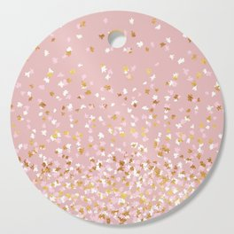 Floating Confetti - Pink Blush and Gold Cutting Board