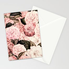 Vintage & Shabby Chic Pink Floral camellia flowers watercolor pattern Stationery Cards