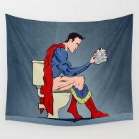 superhero Wall Tapestries featuring Superhero On Toilet by WyattDesign
