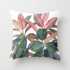 Rubber Plant Throw Pillow