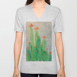 Cactus garden with orange flowers Unisex V-Neck