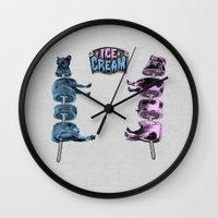 ice cream Wall Clocks featuring Ice Cream by DIVIDUS