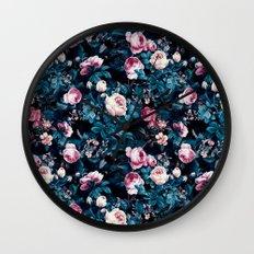 Roses Blue Wall Clock