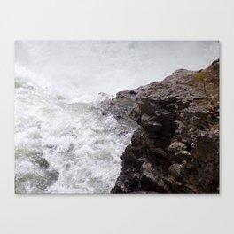 Rapids, Churning Water Through Black Rocks, Swift River Wate Canvas Print