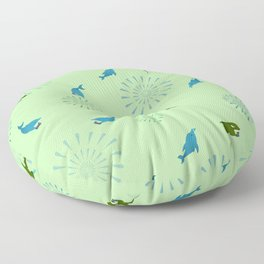 Green Orca and Dolphin Floor Pillow