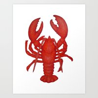 lobster Art Prints featuring Lobster by Fischer Fine Arts