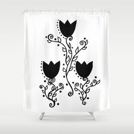 Three Tulips Doodle Art – Black Graphic Shower Curtain