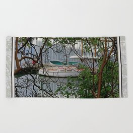 BOATHOUSE THROUGH MADRONA TREES Beach Towel