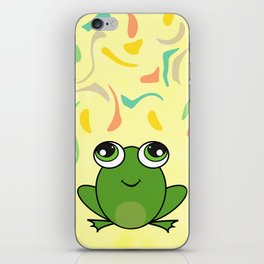 Cute frog looking up iPhone Skin