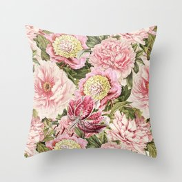 Vintage & Shabby Chic Floral Peony & Lily Flowers Watercolor Pattern Throw Pillow