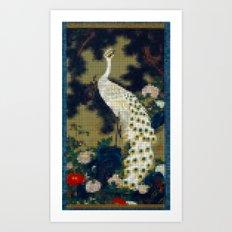 Pixel Peacock Art Print