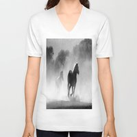 horses V-neck T-shirts featuring Horses  by Gracy Dreamscape