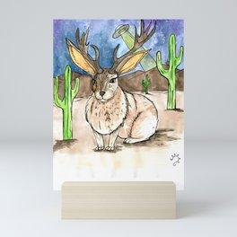 Jackalope in the desert Mini Art Print