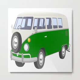 Classic Seventies White / Green Van Metal Print